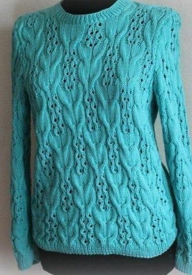 Схема узора спицами для вязания пуловера