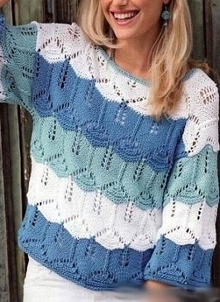 Узор спицами для пуловерв