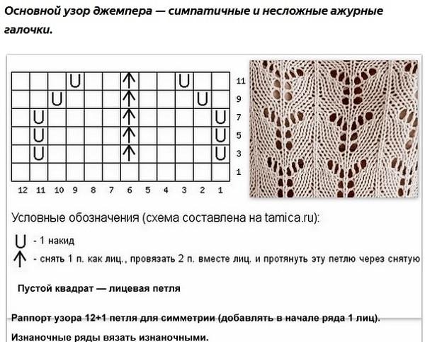 Схема вязания ажура