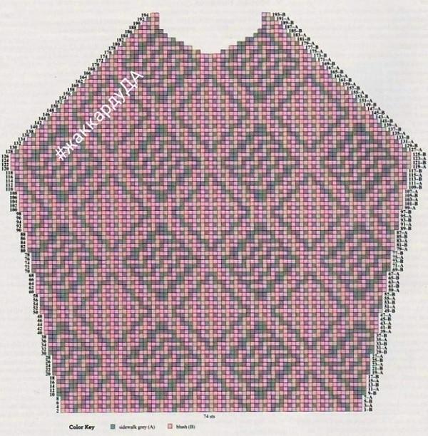 Схема вязания ленивого жаккарда