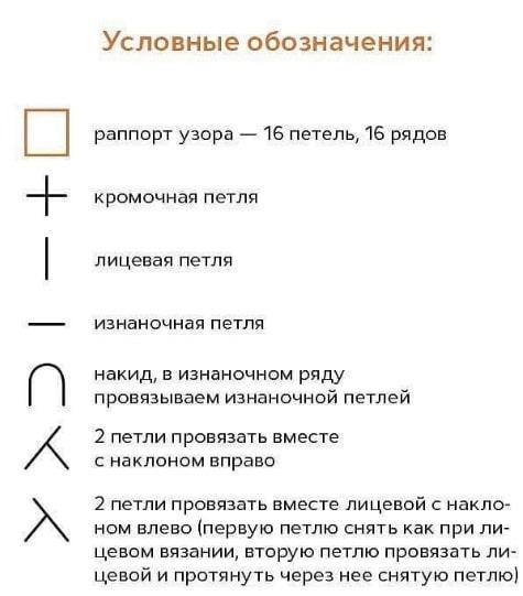 Расшифровка к с схеме вязания