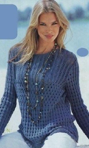 Описание вязания пуловера спицами
