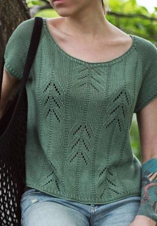 Ажурный узор для вязания футболки спицами