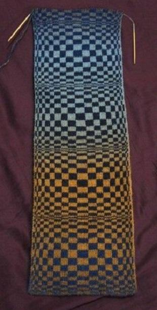 Узор для вязания шарфа Оптическая иллюзия спицами