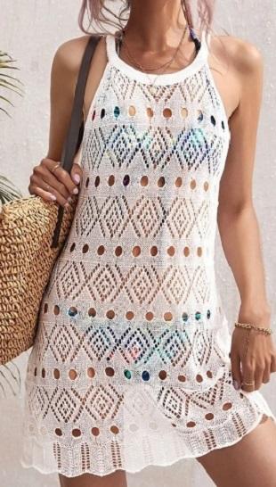 Ажурный узор для вязания пляжного сарафана спицами