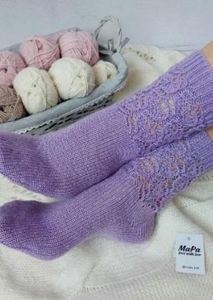 Образец ажурного узора для вязания носок