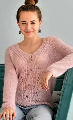 Пуловер Паутинка спицами