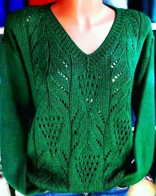 Ажурный узор для вязания пуловера спицами